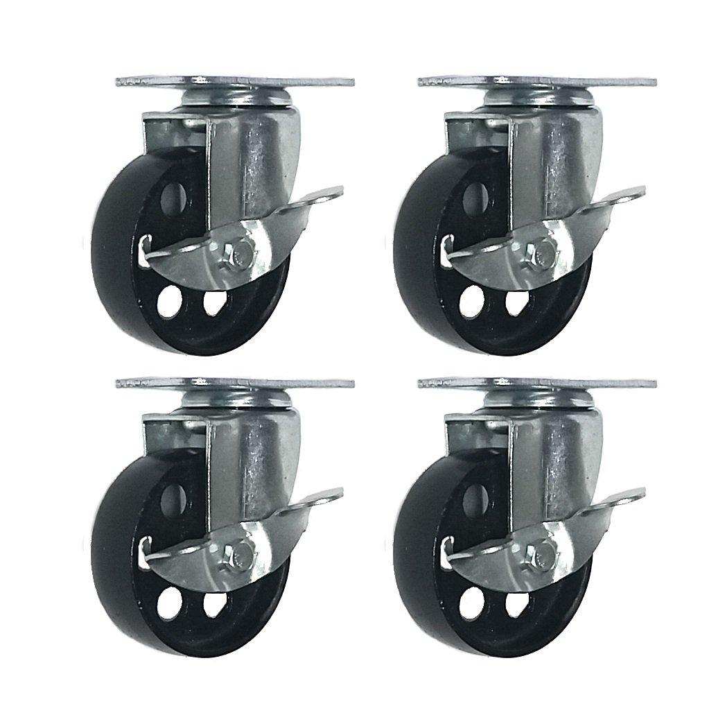 4 All Steel Swivel Plate Caster Wheels w Brake Lock Heavy Duty High-Gauge Steel (3'' with Brake)