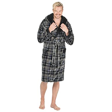 Pierre Roche Mens Luxury Flannel Fleece Dressing Gown - Checked Robe With  Hood Black L bf6b867e0