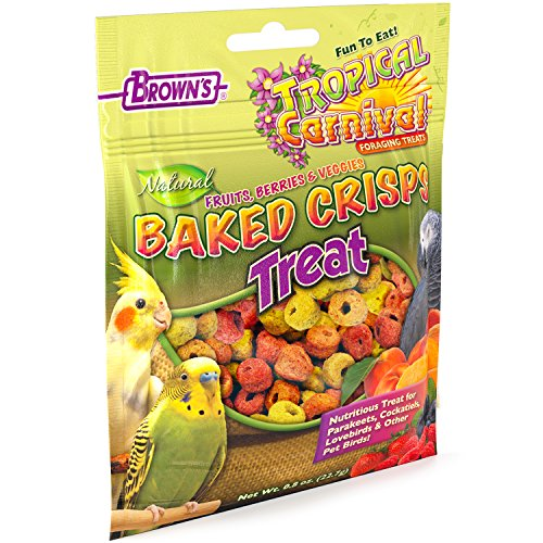 - F.M. Brown'S Tropical Carnival Natural Baked Crisps For Cockatiels, Parakeets, Lovebirds, And Parrots Of All Sizes, 0.8-Oz Bag - Treats Made From Natural Fruits And Veggies