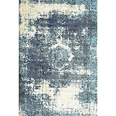Traditional Vintage Inspired Overdyed Distressed Fancy Blue Area Rugs, 5 Feet 11 Inches by 9 Feet (5' 11  X 9')