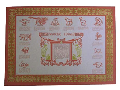 picture about Printable Chinese Zodiac Placemat identify Chinese Zodiac Paper Placemats 50 Sections (PP-02)