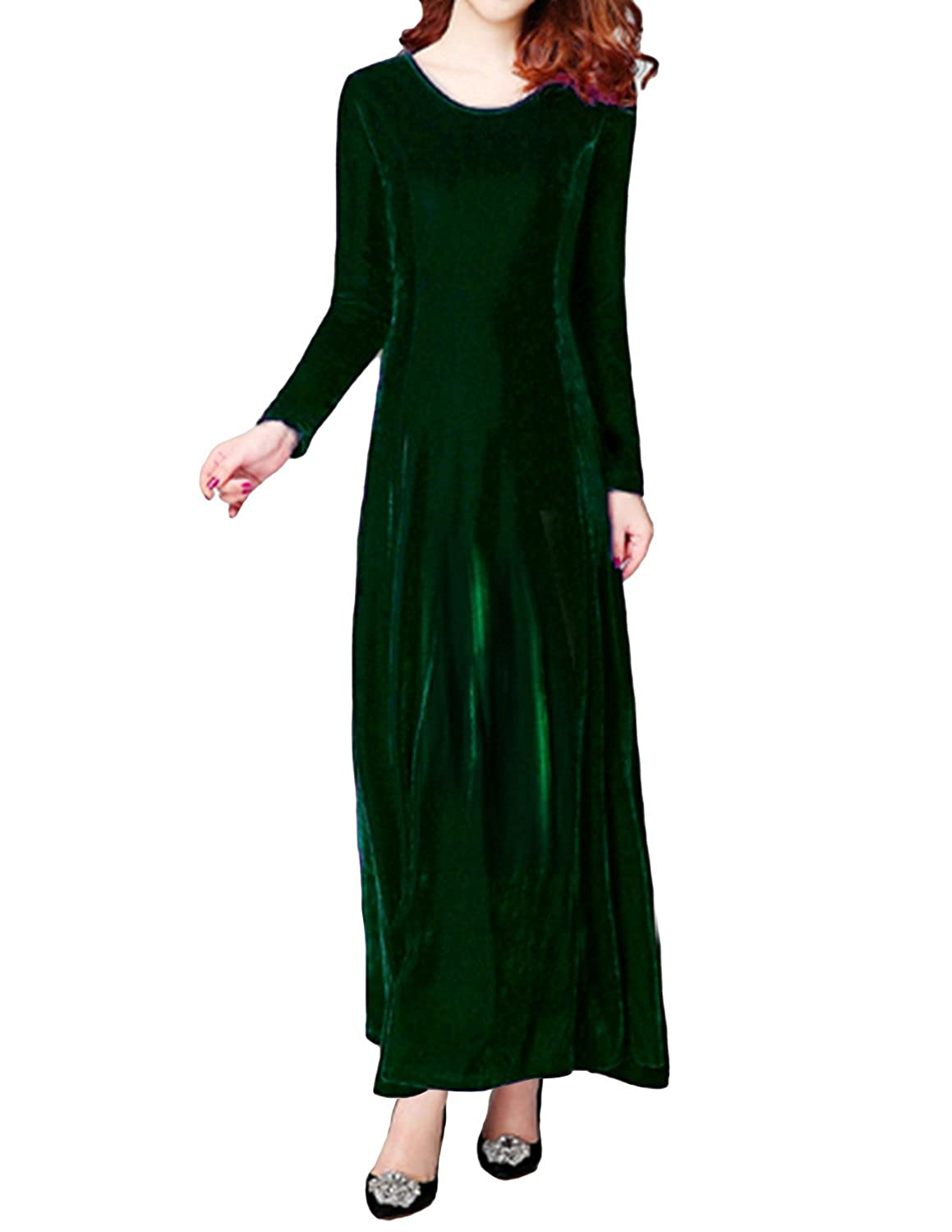 e68b2ec48 Sue&Joe Women's Maxi Dress Long Sleeve Velvet Long Elegant Stretchy Eveing  Gown at Amazon Women's Clothing store: