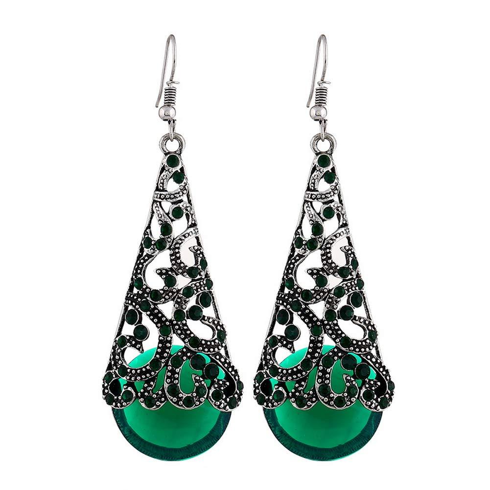 YAZILIND Vintage Hollow Water-drop Rhinestone Pendant Drop Dangle Earrings Women Party Jewelry Gift