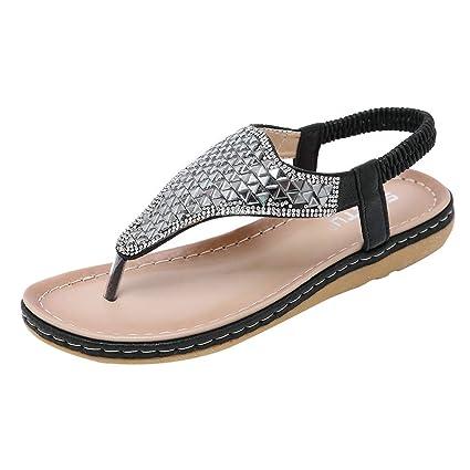 LILICAT ✈✈ 2019 Fashion Sandalias Mujeres Moda Verano Plano Talla Grande Bohemia Clip Toe Dulce con Zapatos De Playa Sandalias Chanclas De Damas ...