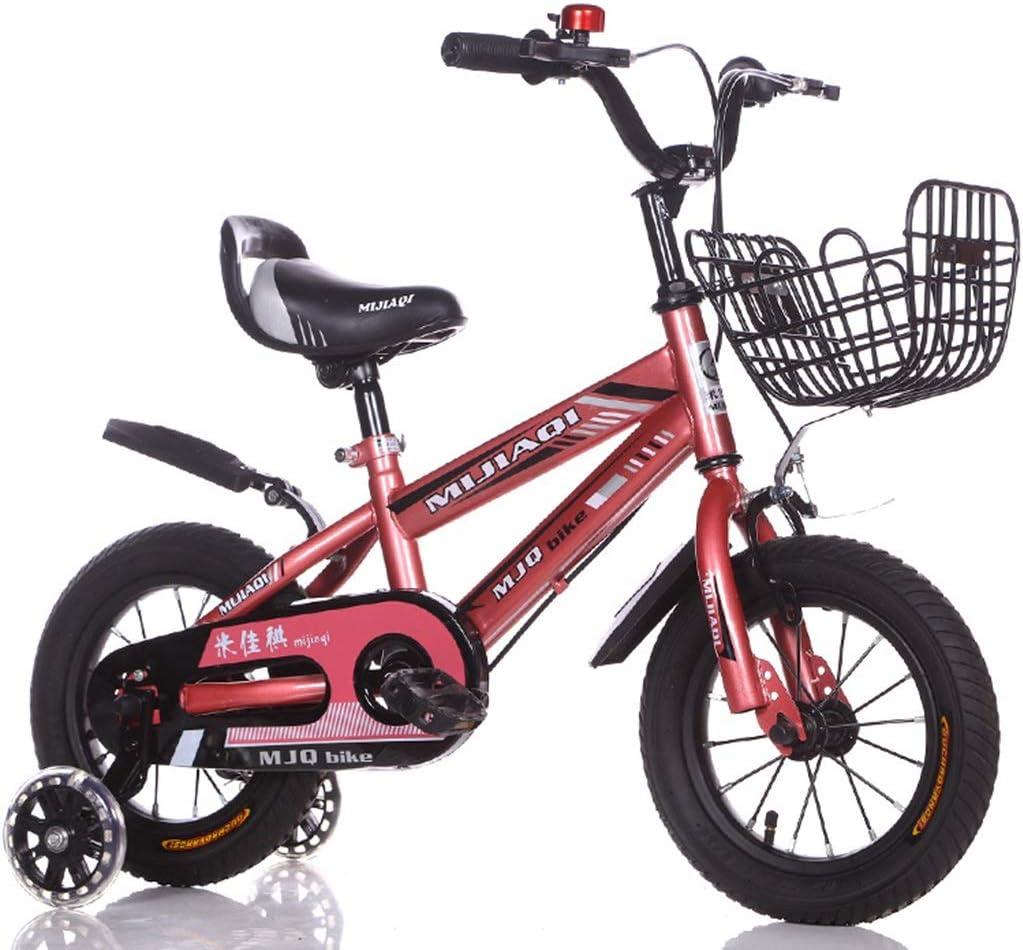 LIMUZI Las Bicicletas Infantiles for niños y niñas |Bicicleta con Las Ruedas de los Trenes y la Cesta |Bicicleta for niños |12,14,16,18 Pulgadas |3-8 años Interior Al Aire Libre