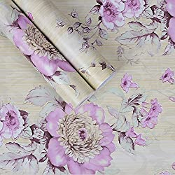 SimpleLife4U Vintage Purple Peony Self-Adhesive Kitchen Shelf Drawer Liner Moisture Proof PVC Mat 45x300cm