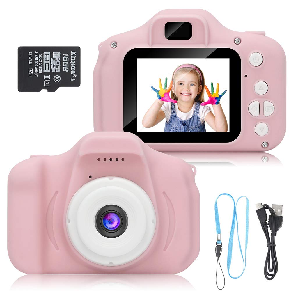 DDGG Kids Digital Camera for Girls Age 3-10,Toddler Cameras Child Camcorder Mini Cartoon Pink Rechargeable Camera Shockproof 8MP HD Children Video Record Camera