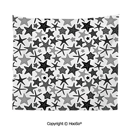 Durable Washable and Reusable tapestry wall hanging carpet 59x40in,Monochromatic Starfish Pattern Exotic Aquarium Fauna Underwater Wildlife Decorative,Black Grey White Comfy and No Strange Odor - Trio Monochromatic