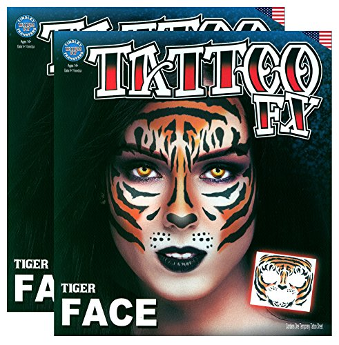 Tribal Tiger Temporary Face Tattoo Kit - Set of 2 Complete Kits (The Best Tiger Tattoo Designs)