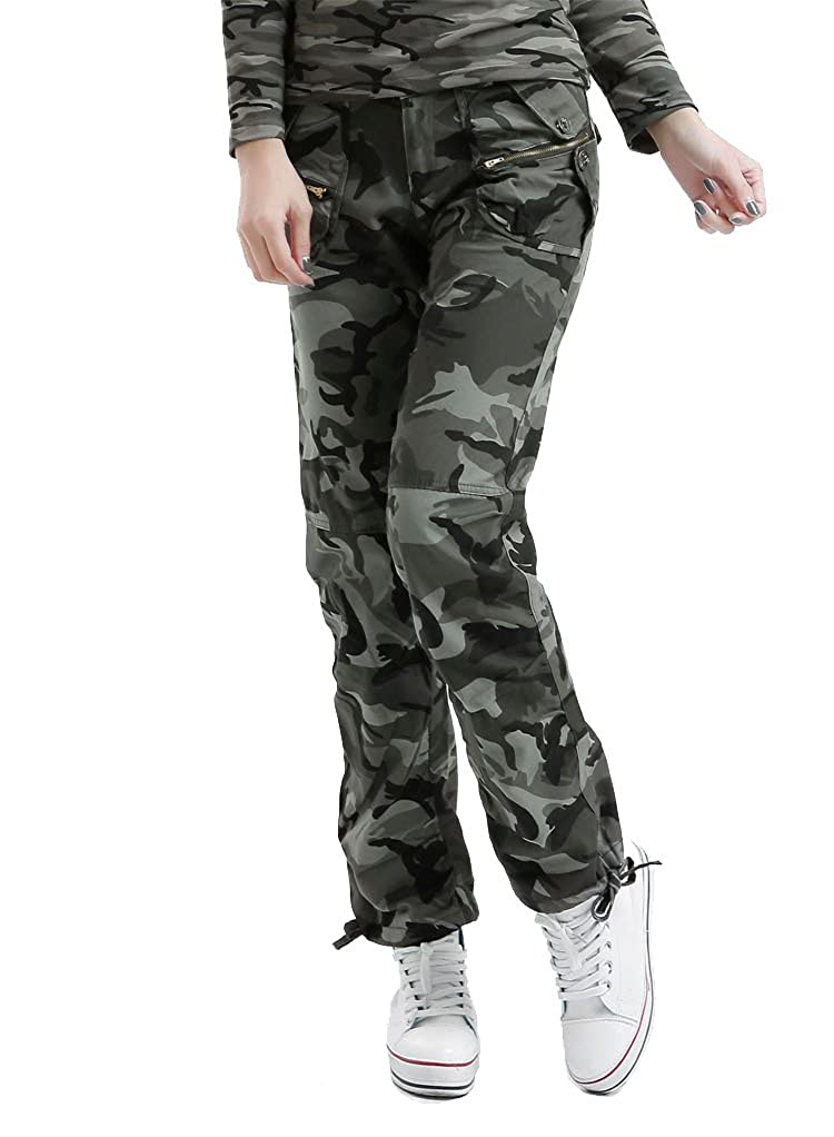 Tonwhar Womens Military Pants Woodland Camouflage Cargo Pants pant005
