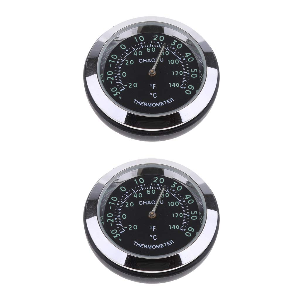 Prettyia 2Pieces Car Dashboard High Accuracy Mini Quartz Clock Mechanical Thermometer Meter 38x38x15mm Black