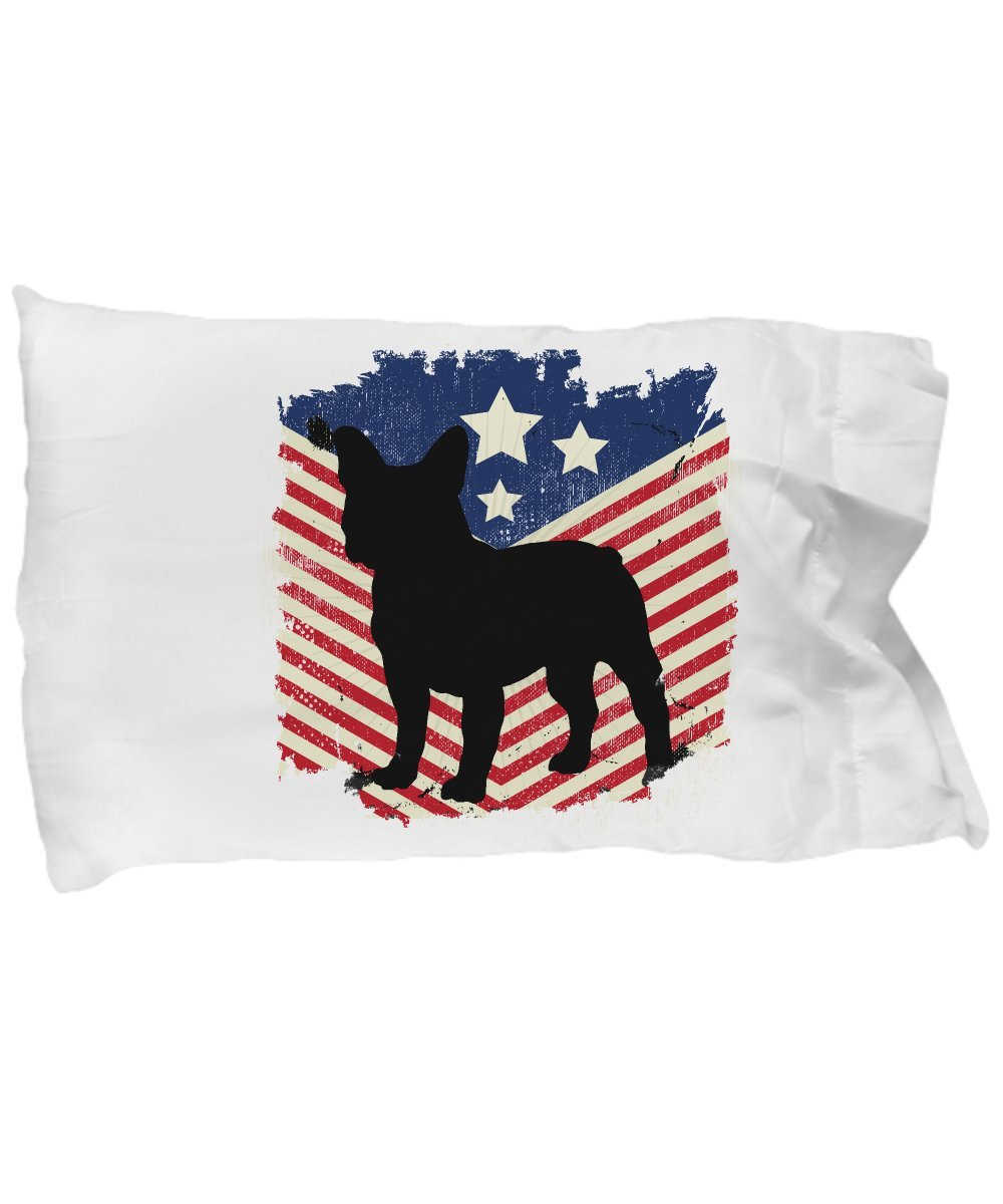 Funny Novelty Gift For 4th of July French Bulldog American Flag Best Fourth of July America USA US French Bulldog Pillow Case