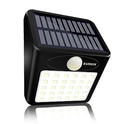 30 LED Lampe Solaire Extérieur Jardin, KUNGIX Eclairage Extérieur Imperméable Eclairage Terrasse sans Fil Détecteur de Mouvement Eclairage mural Pour Patio, Terrasse