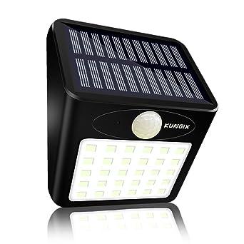 30 LED Lampe Solaire Exterieur Jardin KUNGIX Eclairage Impermeable Terrasse Sans Fil Detecteur De Mouvement Mural Pour Patio
