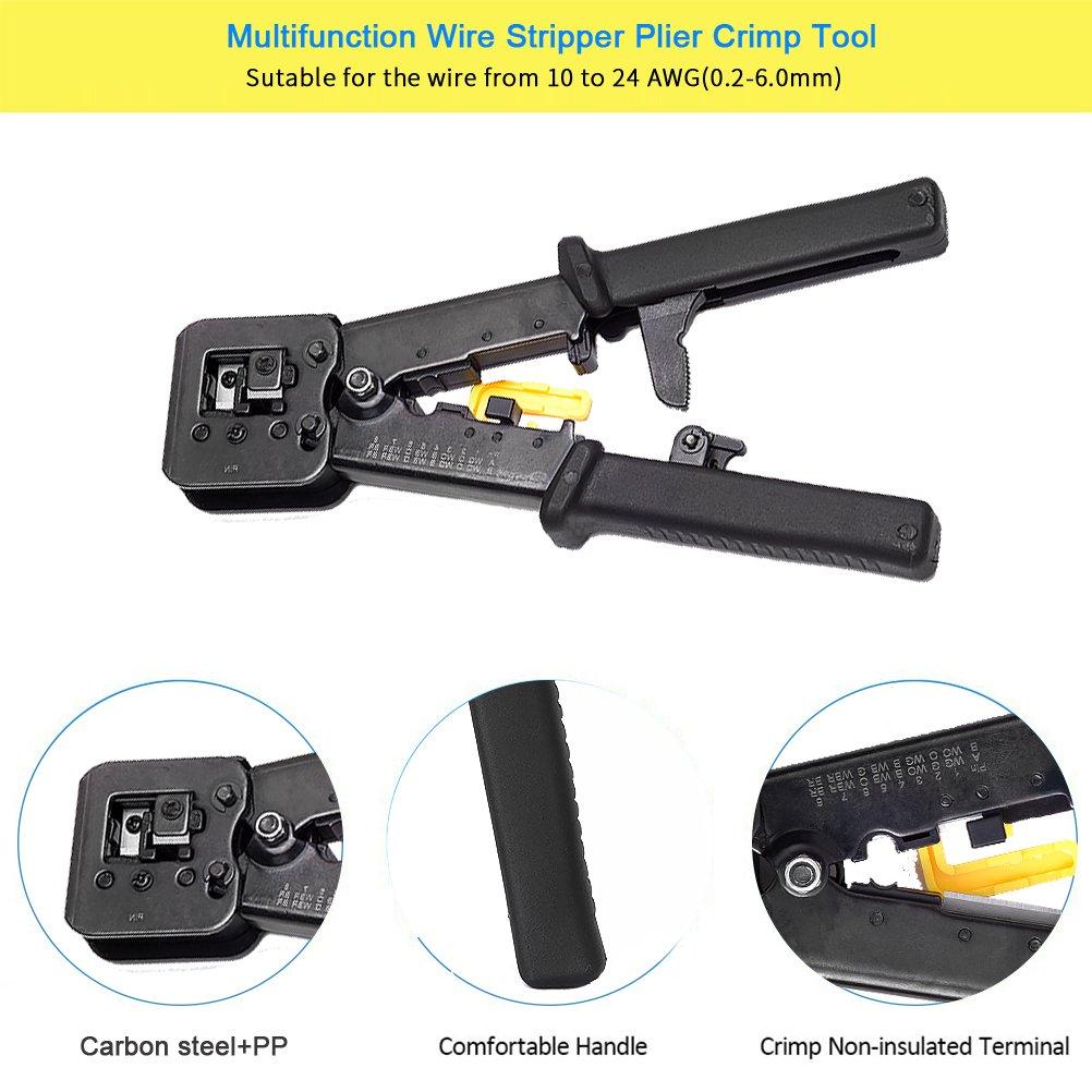 Crimp Stripper Tool EletecPro Multifunction Wire Stripper Alicate trinquete RJ45 RJ11 RJ12 Crimp tool Crimping Stripping Alicates de corte