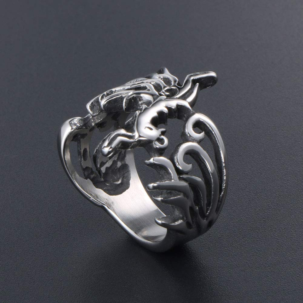 HIJONES Unisex Stainless Steel Vintage Phoenix God Bird Ring Biker Band Chinese Style Silver