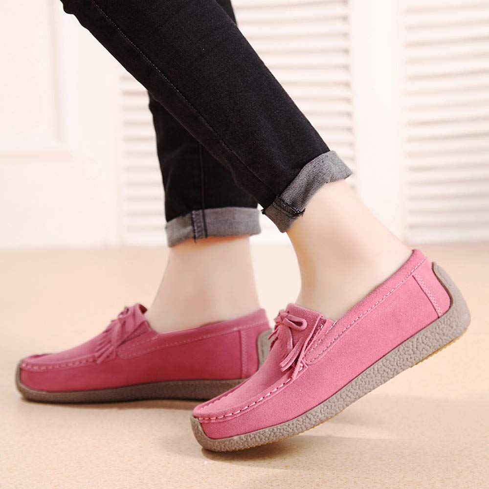 Respctful ◉Women Shoes Knotted Front Suede Round Toe Lace Up Flats Walking Classic Shoes