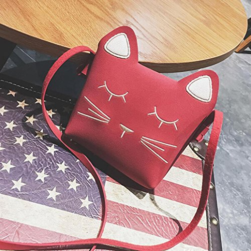 bandoulière Sacs Cut BZLine® à Bag Bag Cat Fille Mini à Crossbody Cat main Cartoon Rouge Sacs 4p4xqzYwR