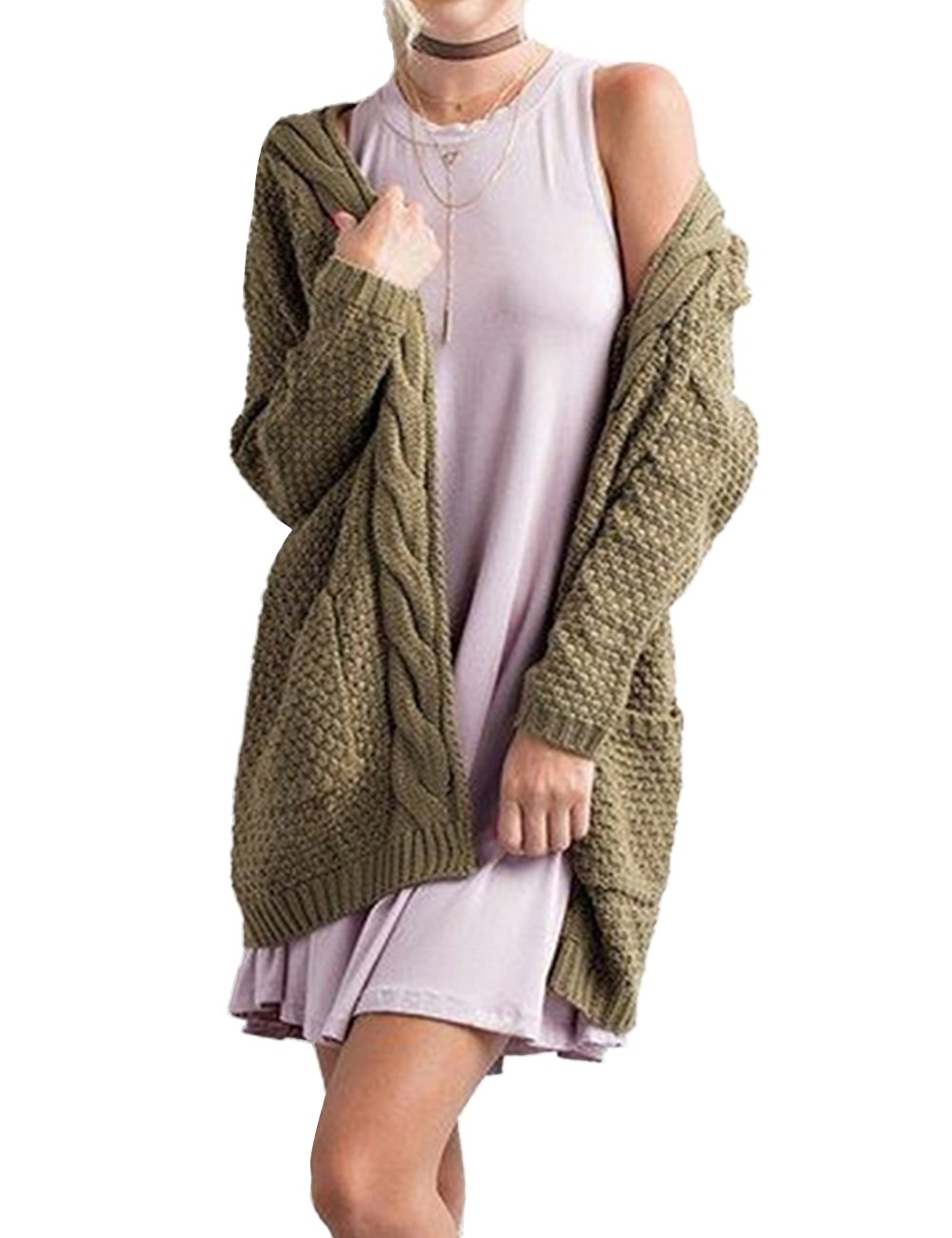 Xiakolaka Women's Long Sleeve Chunky Sweater Open Front Cable Knit Cardigans
