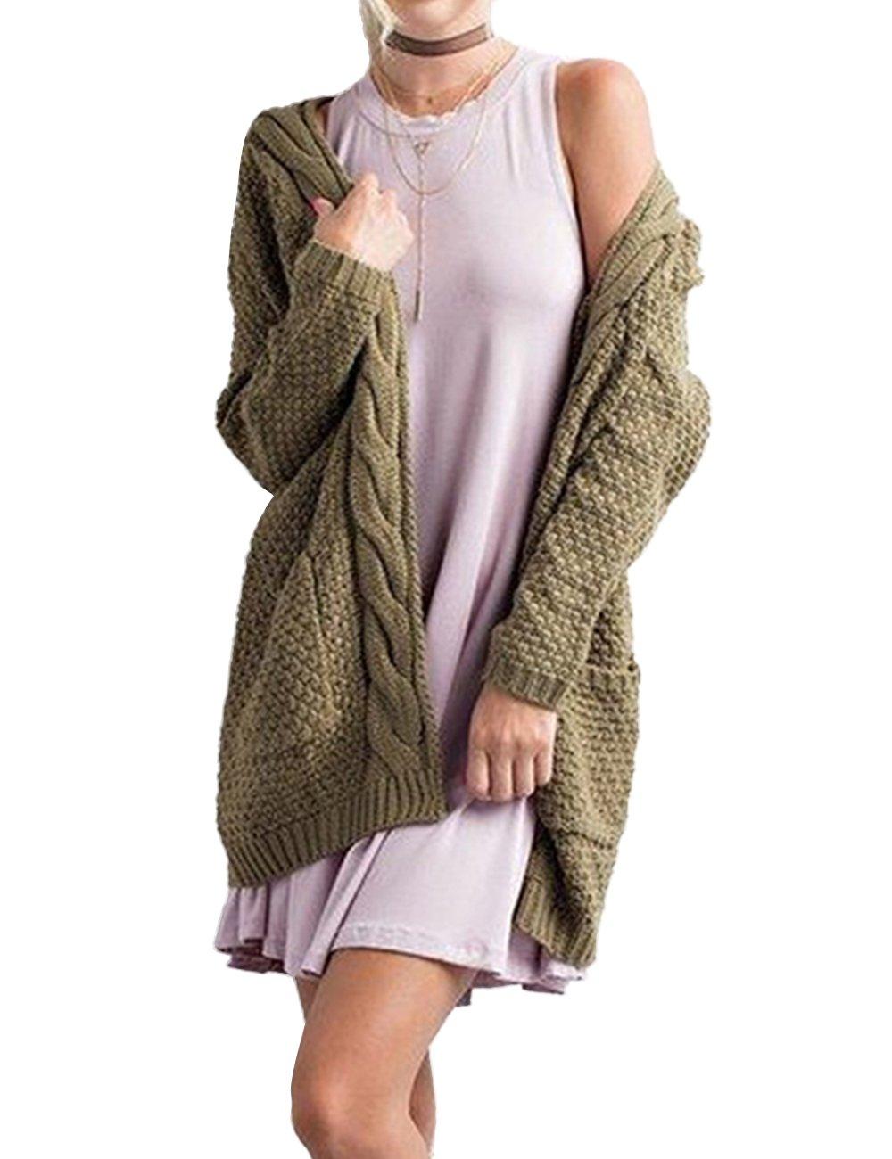 Xiakolaka Women's Long Sleeve Chunky Sweater Open Front Cable Knit Cardigans