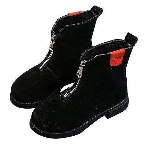 Botas de cuero para niños Koly Zapatos para bebé Botines Cremallera infantiles Niños Moda Bebé Retro
