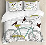 Bicycle Duvet Cover Set King Size by Ambesonne, I Love My Bike Concept with Birds on the Seat Cruisers Basic Vehicle Simplistic Art, Decorative 3 Piece Bedding Set with 2 Pillow Shams, Green Blue