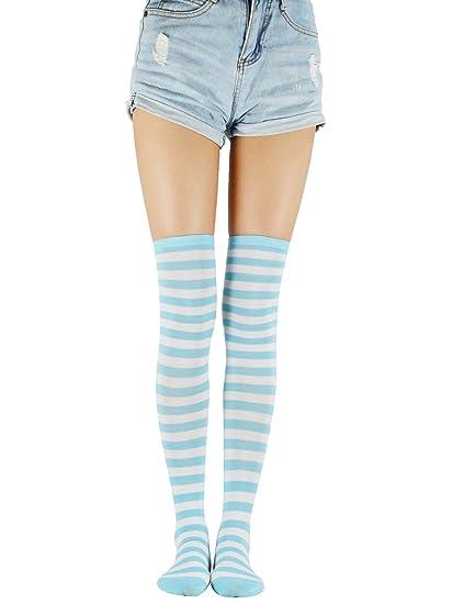 245fc34a6 Zando Women Stripe Thigh High Tights Over Knee Socks Cotton Long Stocking  Blue White Stripe One Size at Amazon Women s Clothing store