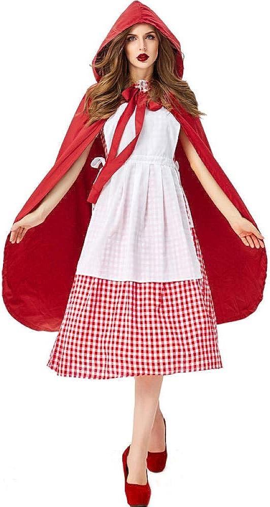 mubgo Ropa Vestido De Caperucita Roja Disfraz De Halloween Adulto ...