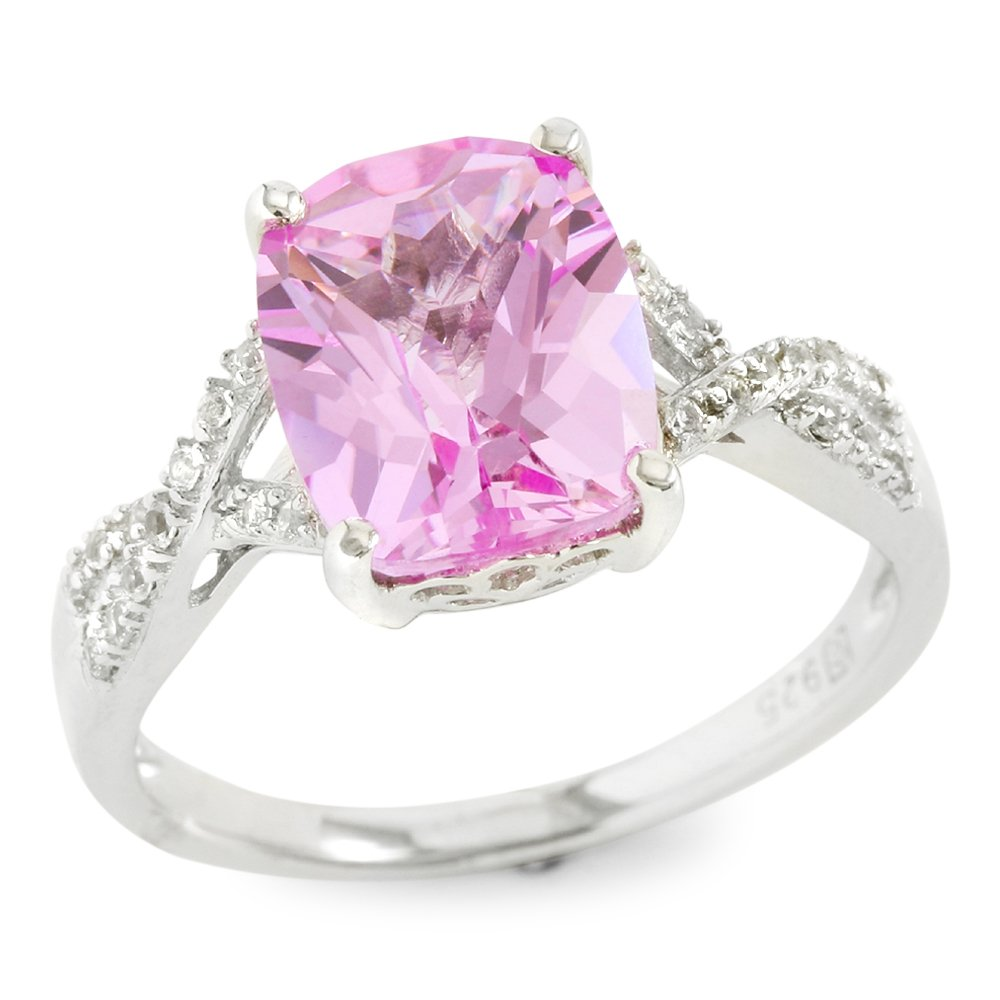 Glamouresq Sterling Silver 10mm Cushion Cut Created Pink & White Sapphire Women's Ring, Size 7