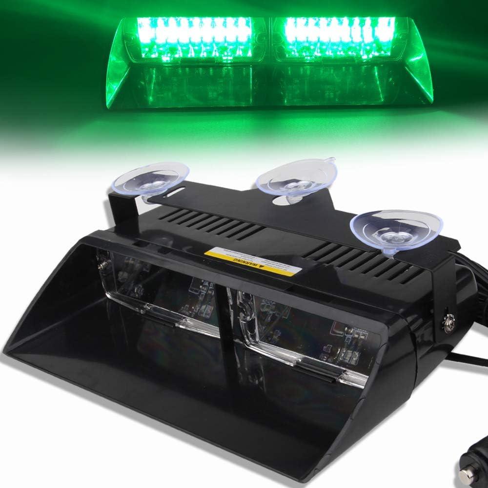 12V Green 16 LEDs High Brightness LED Law Enforcement Emergency Beacon Hazard Warning Strobe Light Danger Light For Car Truck Trailer SUV Internal Roof//Dashboard//Windshield with Suction Cup