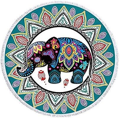 Toalla De Playa Redonda Manta Gruesa De Gran Tamaño,Tela Verde Elefante Mandala Microfibra Con Flecos De Borlas De Algodón,Novedad Estampado De Animales Estera De Yoga De De Prueba De Arena De Secad: