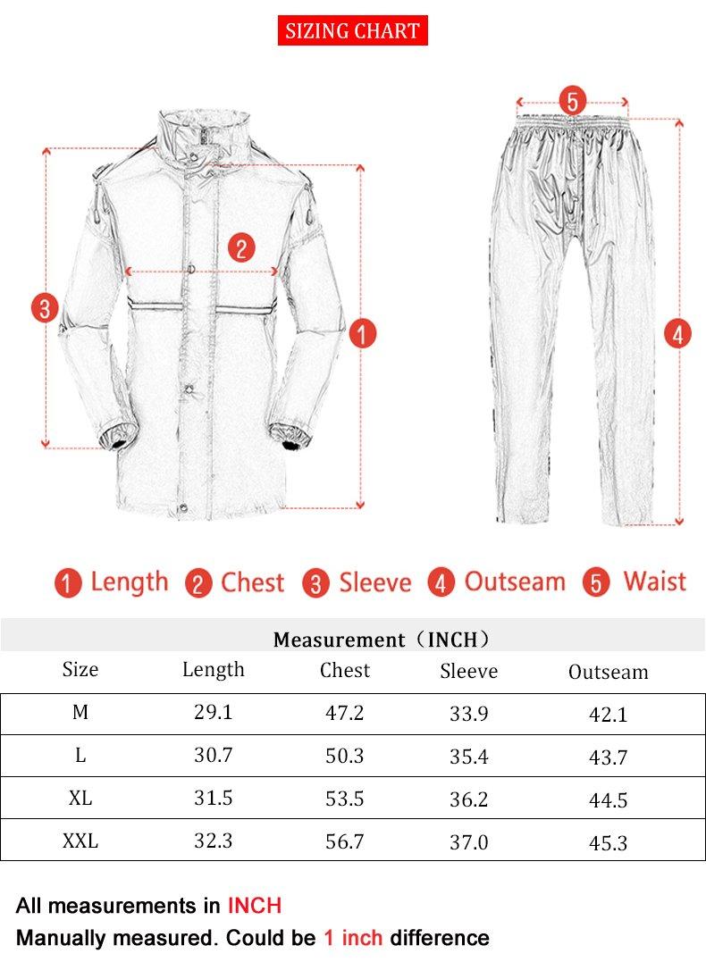 Maiyu Motorcycle Rain Suit Waterproof Rain Jacket and Rain Pants Rain Gear For Adult RS01 by Maiyu