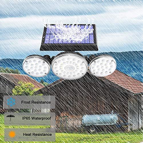 Solar Lights Outdoor,3 Modes with Motion Sensor Lights, 70 LED 3 Adjustable Heads Flood Lights, 270° Rotatable Wireless Spotlights, IP65 Waterproof for Garage Pathway Porch Garden Patio Yard