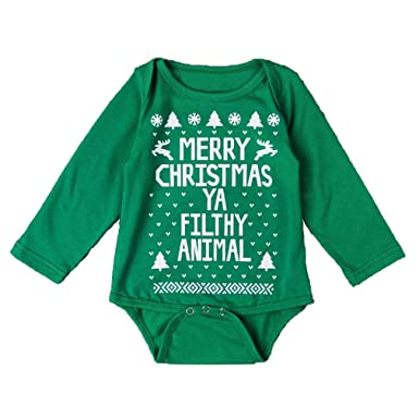 65ab24c10627 Image Unavailable. Image not available for. Color  Dovaly Baby Boys Girls Clothes  Cotton Jumpsuit Christmas Print ...