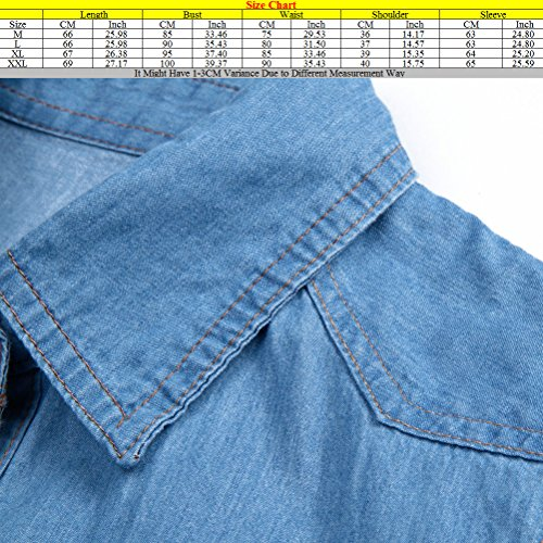 Zhuhaitf Popular Camisa de mezclilla especial Female Casual Roll Up Denim Jacket Cowboy Slim Jean Shirts para mujeres Light Blue