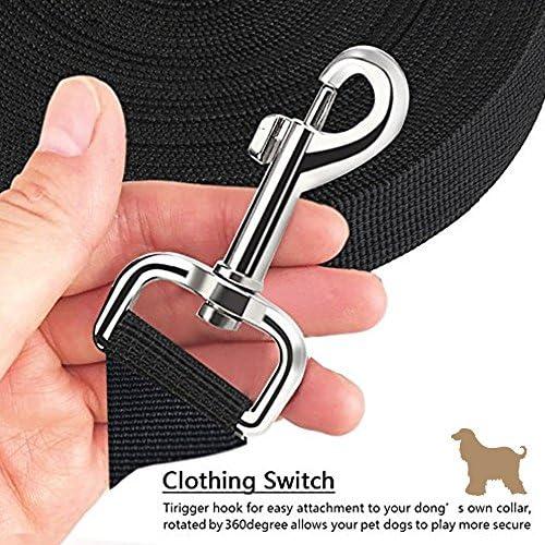 iNeego Laisse de Dressage pour Chien Longe de Chien Laisse Longue en Nylon pour Chiens de Petites à Grandes Taille -15M, Noir