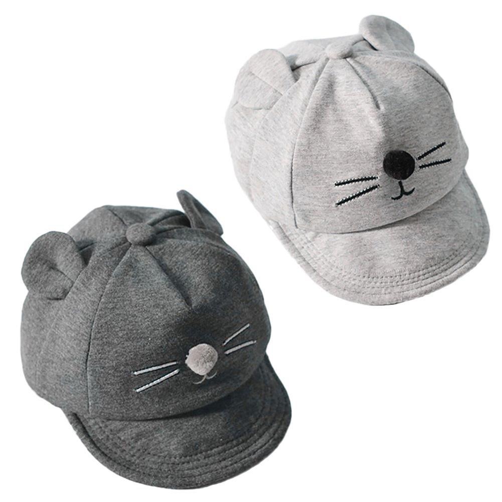 Ownsig Baby Baseball Cap Cartoon Cat Sun Hat Flat-Brimmed Boy Girl Cool