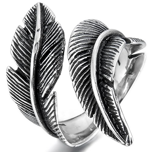 INBLUE Womens Stainless Silver Feather