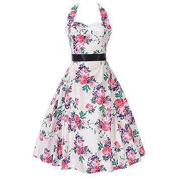 1950s Vestido de noche vintage para mujer – Saihui Halter cuello floral impresión Retro fiesta elegante