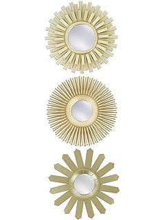 kole imports gold sunburst wall mirror set