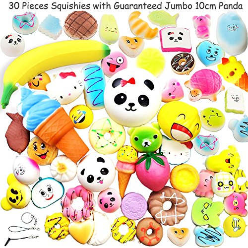 Random 30pcs Slow Rising Kawaii Jumbo Medium Mini Soft Squishy Toys Panda Buns Cake Bread Cute Face Straps Charm Stress Relief Squeeze Food iPhone and Android Headphone - Of Different Type Shapes Face