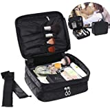Cosmetic Case Portable Travel Makeup Bag, MOGOI Double Layer Waterproof Make Up Brushes Organizer Bag with Carry Handle, Professional Multifunctional Cosmetic Bag for Women Girls