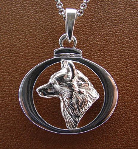 - Sterling Silver Siberian Husky Head Study On A Circle Frame Pendant
