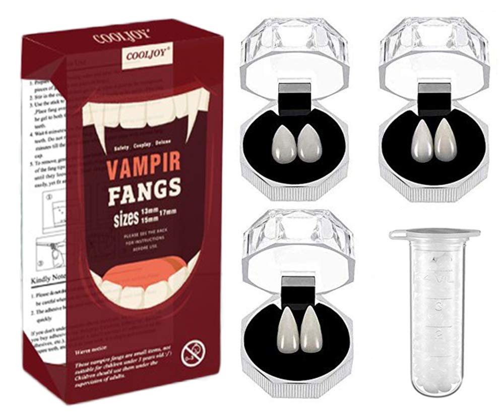 COOLJOY 3 Sizes Vampire Fangs Teeth with Adhesive Halloween Party Cosplay Props White Horror False Teeth Props Party Favors Dress Up Accessories by COOLJOY
