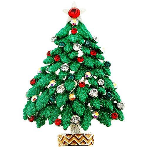 (Fantasyard Green Christmas Tree Swarovski Crystal Pin Brooch)