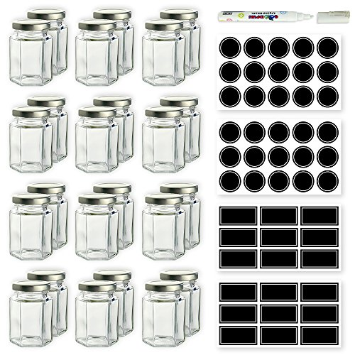 Hexagon Glass Jars - 4 oz Set of 24 Glass Jars with Silver Caps with Chalkboard Labels and Marker - Perfect for Spices, Honey, Canning, Gifts and Crafts