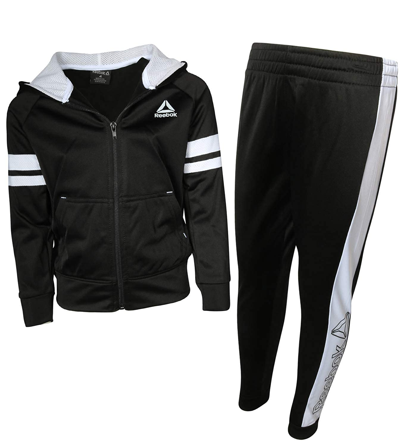 Amazon.com  Reebok Boys 2-Piece Tricot Performance Zip Hoodie and Jogger  Tracksuit Set  Clothing fa4c10461