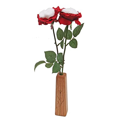 Amazon.com: JustPaperRoses 2nd Second Wedding Cotton Roses 2-Stem Bouquet and Wood Vase: Home & Kitchen