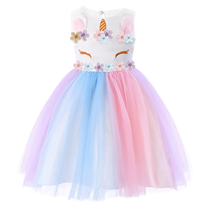 da471be60db0 FYMNSI Bambino Ragazza Unicorno Abito Ruffles Fiori Festa Cosplay da Sposa Vestito  della Principessa Arcobaleno Tulle