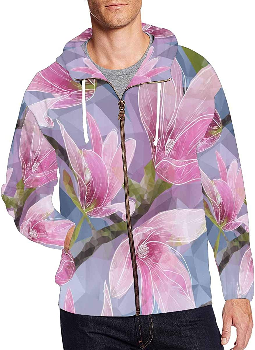 INTERESTPRINT Mens Zip Hooded Pullover Sweatshirt Pink Floral